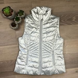 WHBM Metallic Silver Puffy Quilted Zip Front Vest